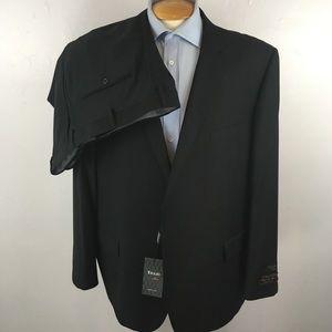 Tiglio mens suit solid black 52r italy nwt ea0265